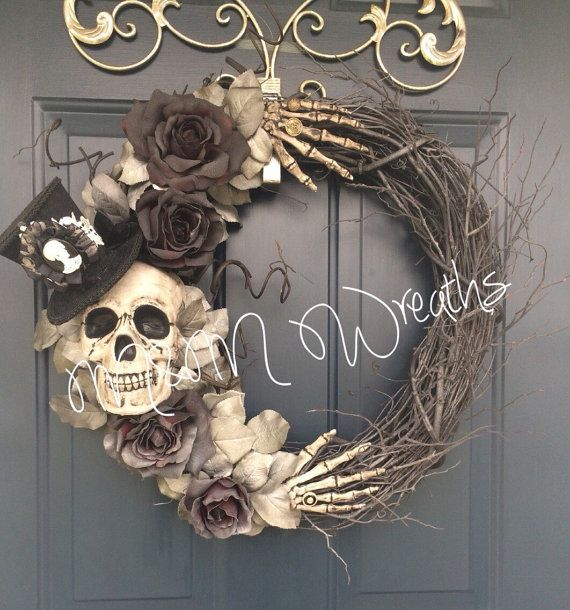 This wreath is made to order, could take me a few weeks because of getting products and the painting process. But you will have it by The beginning of October if order in August. It is approximately 20 inches wide. The skull is hand paint, along with the hands, and roses. **Your wreath will NOT look exactly like this wreath it will look similar. Materials sometimes come in different sizes/shapes or materials are hard to get. But will try my best to get it to look exactly as it is…