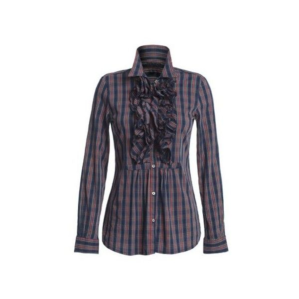 Camicie Jeckerson : Camicia con volant madras - Leiweb ❤ liked on Polyvore featuring camicie