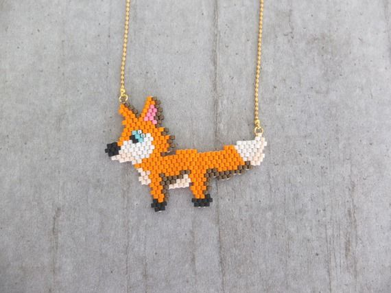 Collier little fox en perles japonaises Miyuki