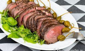 Rostbiff med marinad av soja, honung och balsamvinäger samt örter. God till buffe och bjudning. Denna marinaden sätter lite extra smak på kallskuret kött.