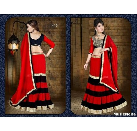 red and black colourd georgette lahenga and duptta with worked art silk blouse - Lehengas and Chaniya Cholis - Saree,Blouse & more