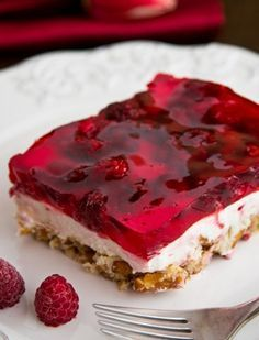 Have you tried this Raspberry Pretzel Jello yet? It's dangerously good and always a favorite at parties!! @NatashasKitchen