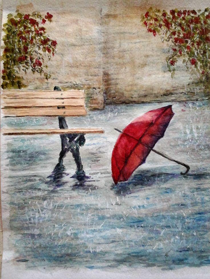 Rain / umbrella / bench  Watercolour painting 30 x 20 cm by Karina Andriasyan
