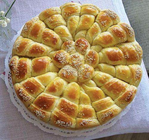 1/2 μαγιά 1 κουταλάκι του γλυκού αλάτι Ζάχαρη 1 κουταλάκι του γλυκού 1,5 φλιτζάνι του καφέ, γάλα 3 αυγά 1 φλιτζάνι γιαούρτι 250 g margarina 2 κουταλιές της σούπας λάδι 500 g αλευρι