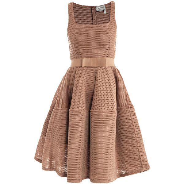 Lanvin Honeycomb open-weave dress ($2,544) ❤ liked on Polyvore featuring dresses, vestidos, short dresses, robes, beige cocktail dress, sleeveless cocktail dress, pleated dress and beige dress