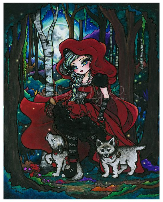 Red Riding Hood Wolf Pups Fantasy Fairy Tale Art Print by Hannah Lynn 8x10
