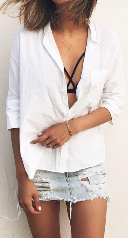 classic button down + denim skirt