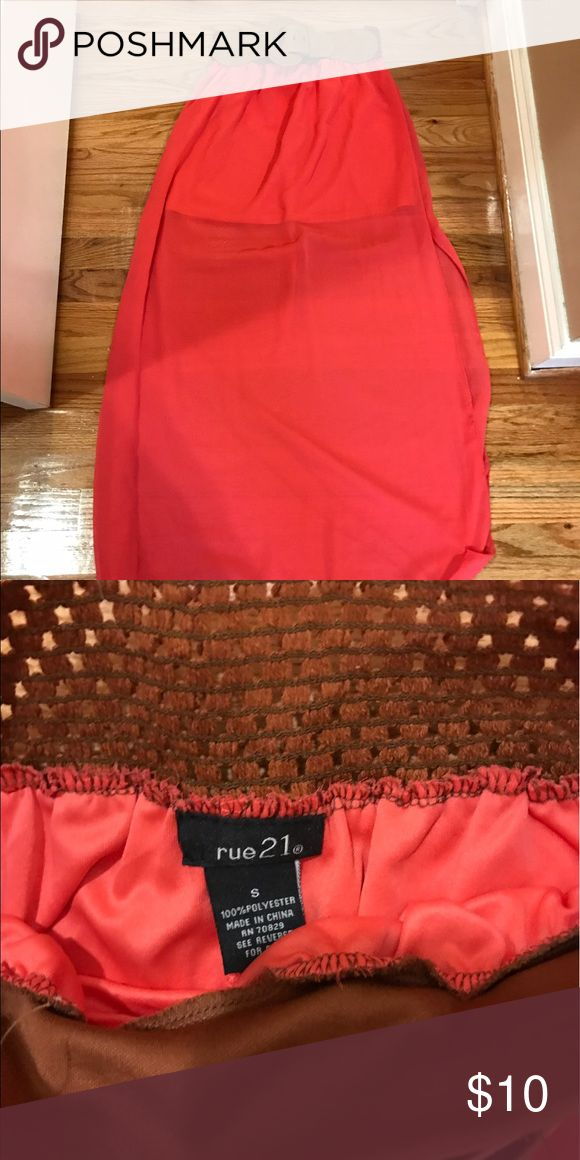Coral Maxi Skirt This was worn once with slits on the side!  The belt part is very stretchy. Rue21 Skirts Maxi