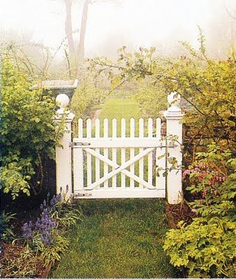 love the brick wall/fence with the wooden gate :) (via thinking outside the boxwood)