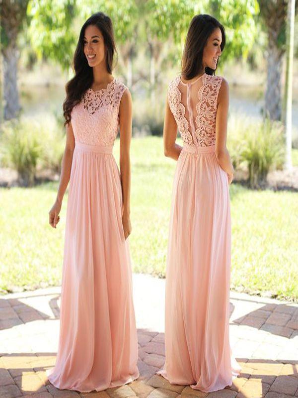 Long Bridesmaid Dress,blush pink bridesmaid dress,see through lace bridesmaid…