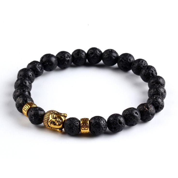 Black Lava Stone Buddha Beads Bracelets