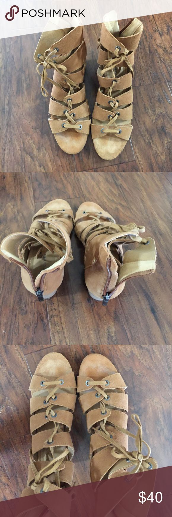 Lucky Brand gladiator sandals with heel Worn about 3 times. Comfortable Lucky Brand Shoes Lace Up Boots