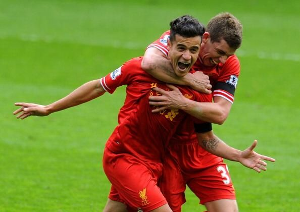 A picture of pure joy. Phil Coutinho & Jon Flanagan celebrate Liverpool's 3rd goal today against Man City. #LFC #MCFC
