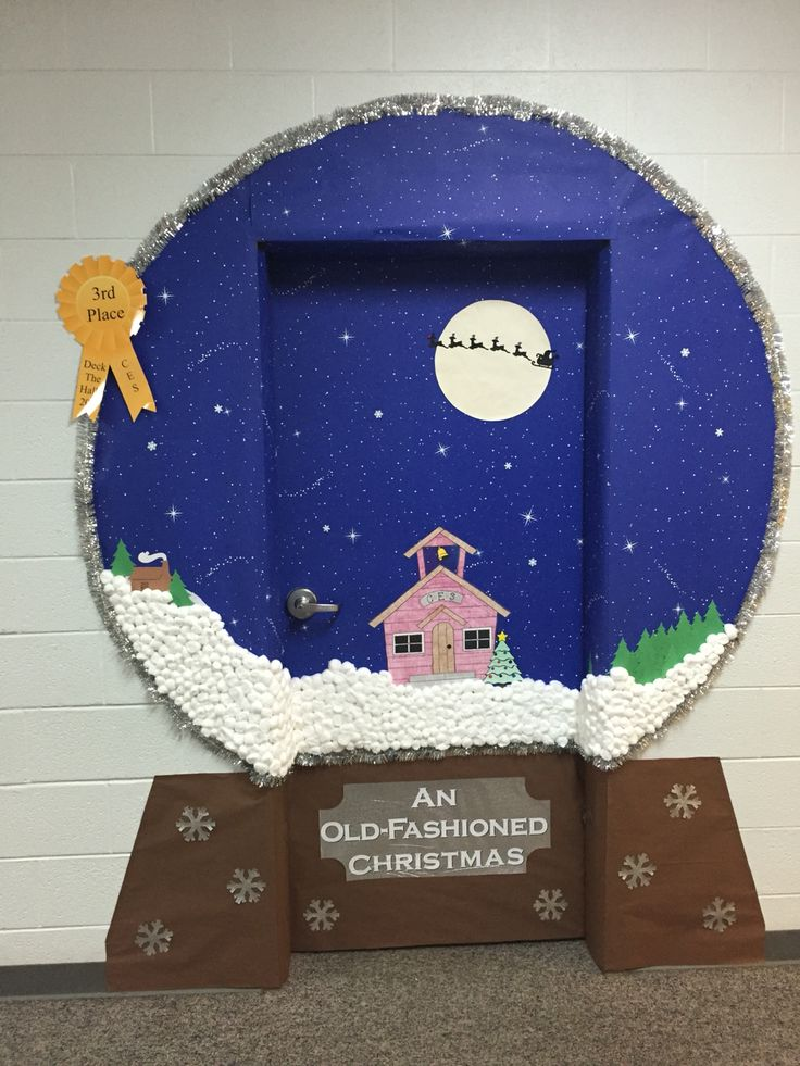 Snow globe classroom door decoration idea!                                                                                                                                                                                 More