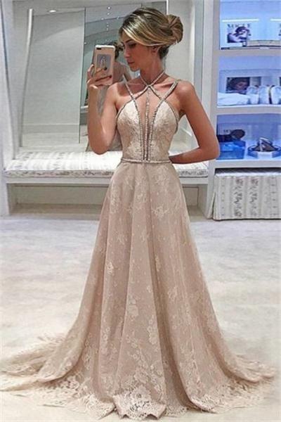 c1b85a9c584 Elegant Long Spaghetti Straps Lace Beading A-line Prom Dresses Z0897 ...