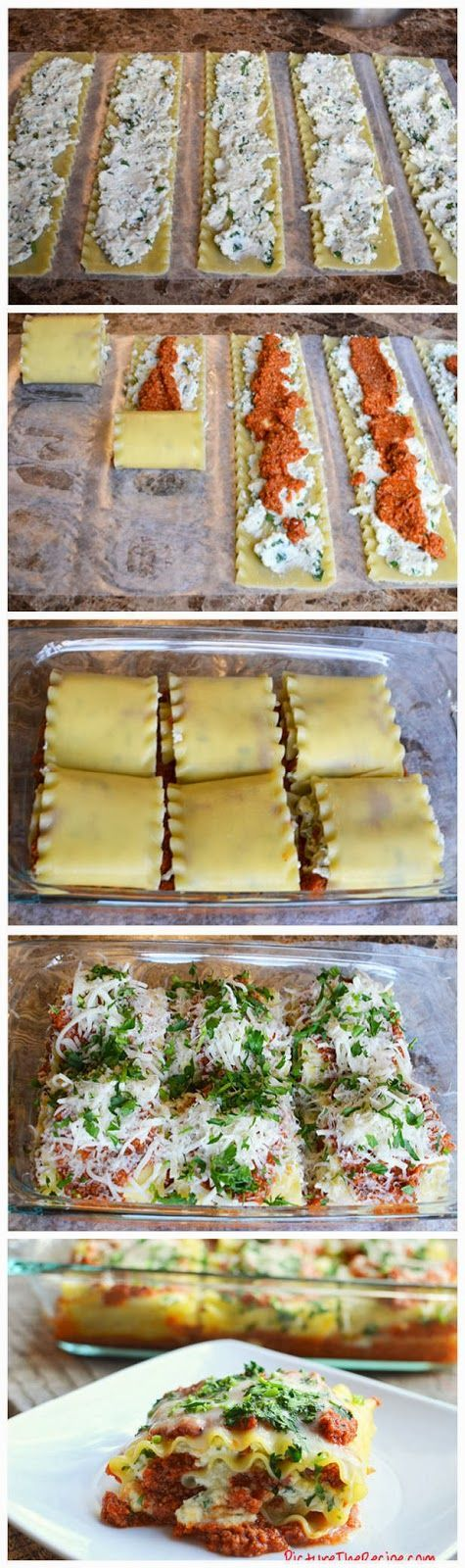 Here's a way to not only simplify the process of making lasagna, but also serving it. With these lasagna rolls, you won't have the hassle of slicing the lasagna only to have the layered stuffing fall out into a mess on the plate. Granted, it does still taste good…but if you want to make fancier individual servings if lasagna…Lasagna rolls are the way to go...