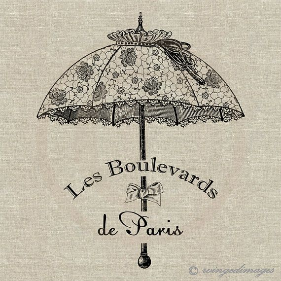 INSTANT DOWNLOAD Vintage French Fancy Parasol Digital Image No.143 Iron-On Transfer to Fabric (burlap, linen) Paper Prints (cards, tags)