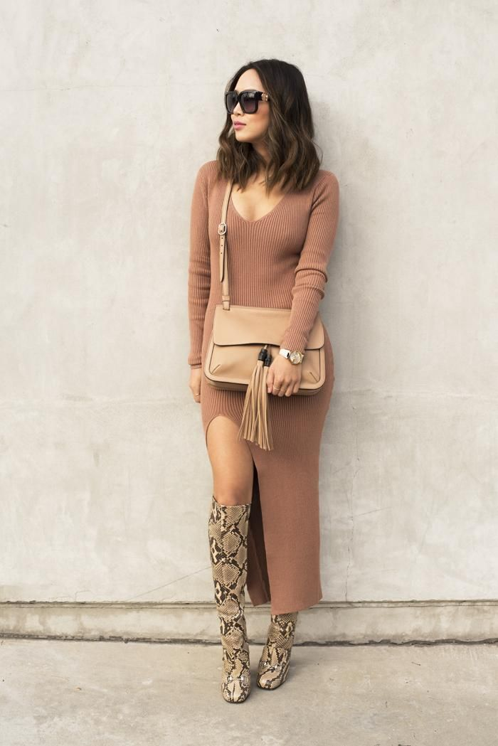 Trending: Snakeskin Boots | Aimee Song wearing snakeskin knee-high boots styled with a body-con knit dress with thigh high slit