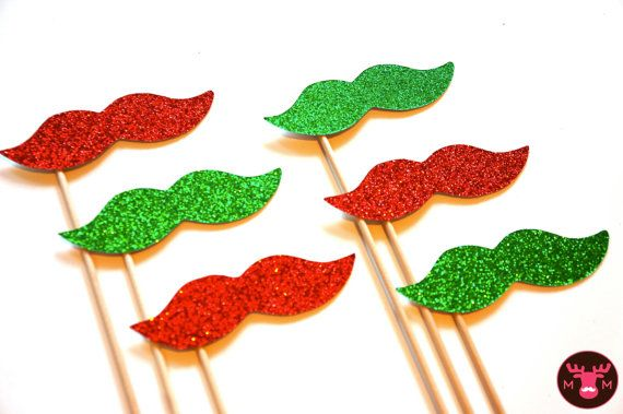 Photo Booth Props  - Christmas Glitter Mustaches on a Stick - Set of 6 - Red and Green Christmas Props - funny Christmas card on Etsy, $17.50