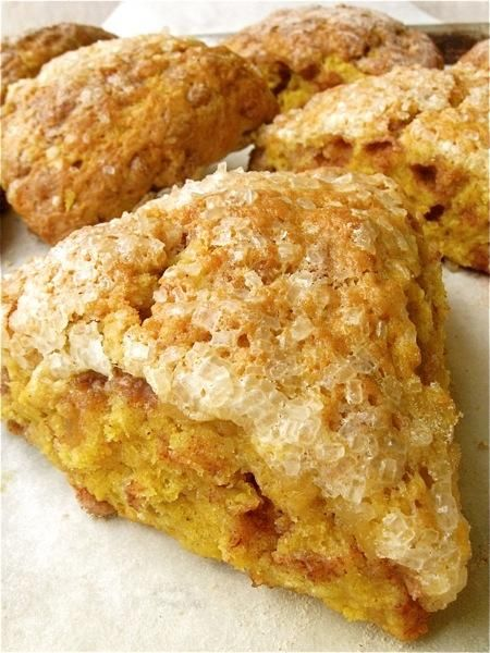 Harvest Pumpkin Scones – Moist, crumbly, tender – tasty! Suggests freezing before baking & gives directions to freeze for later.