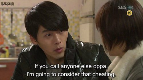I like how even at the end she never calls him oppa and she always calls Oska oppa :D