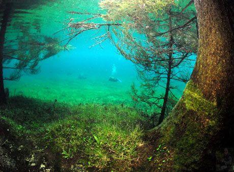 Grüner See, Tragöß, Österreich  Schmelzwasser überflutet jedes Jahr das Tal mit Wegen, Bänken und Brücken - jetzt möchte ich tauchen lernen