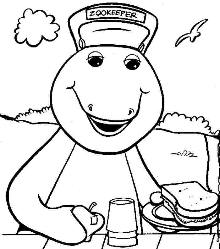 Barney Bring A Sandwich Coloring Pages For Kids Printable