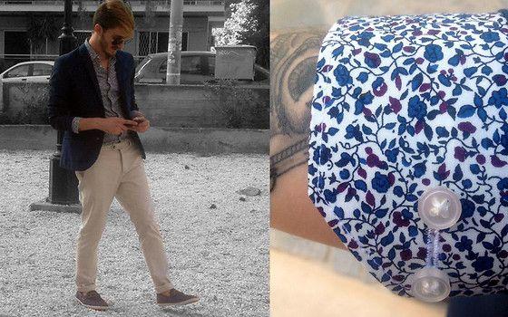 #shirt #blazer #blue #beige #pants