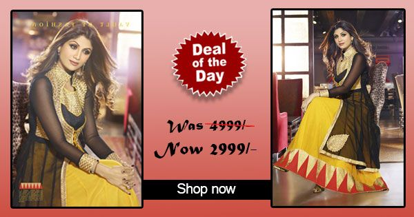 Deal of the day -Shilpa Shetty Suit-#Yellow and #Black Faux Georgette and Jacquard #Anarkali #Suit!  Was Rs. 4,999 Now only Rs. 2,999!  Grab your piece before the deal closes on 7th Sep 2014.