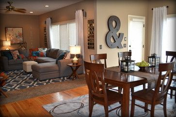 Casual Orange, Blue and Gray Family Room - traditional - family room - omaha - Fluff Your Stuff Interior Design Omaha