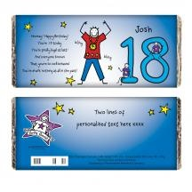This Personalised 18th Birthday Chocolate Gift makes a great novel gift for a special Birthday featuring a Purple Ronnie design.  You can personalise the front with a name.  The chocolate bar also feature the following poem:  Hooray! Happy Birthday!  You're 18 today,