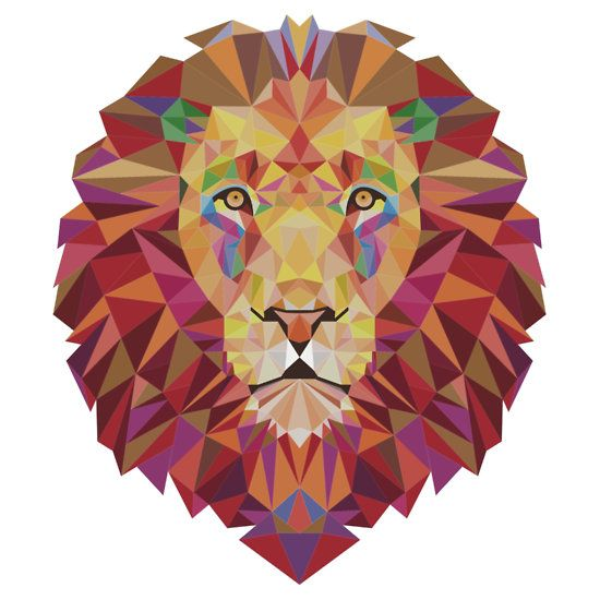 Geometric Lion by tinaodarby
