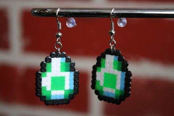 Mario Yoshi Egg Perler Bead Sprite Keychain by WhiteMageInc, $2.50