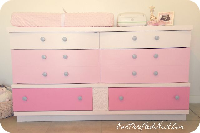 Painted Furniture: DIY Pink Ombre Painted Changing Table