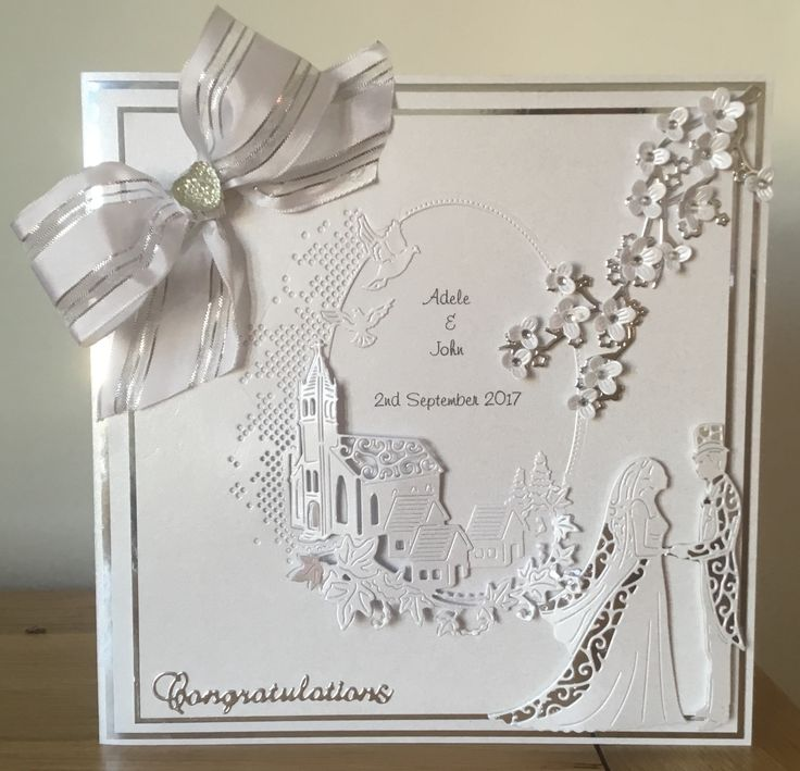 8x8 Wedding card - Tattered lace melded church die with cherry blossom branch and vintage bride and groom; in silver & white.