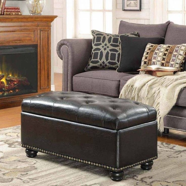 Brown leather storage ottoman coffee table decor accent