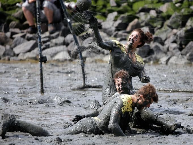 Participants in the Mudflat Olympics play a ballgame in the mud in Brunsbuettel, Germany, on July 28.  Axel Heimken, AFP/Getty Images