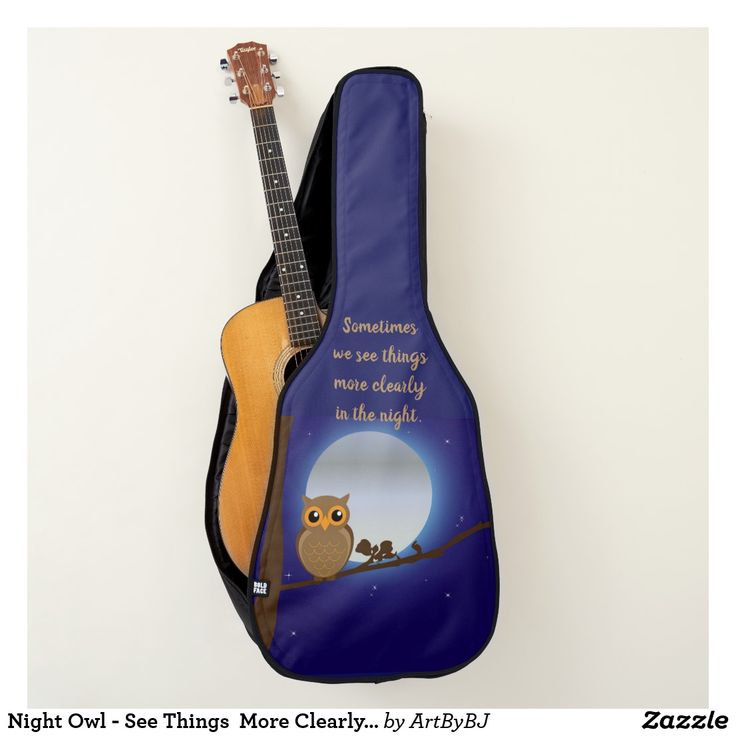 Night Owl - See Things  More Clearly on Acoustic Guitar Case  - A Wonderful Christmas Present or Birthday Gift for ANY Guitar Player - order it as an Electric Guitar Case or an Acoustic Guitar Case. . . .   2 pockets, Handle and Back-Pack Style Straps as well, . . .   AND SWAP-ABLE  Front Designs. -  Visit to see all the details and LOTS MORE!