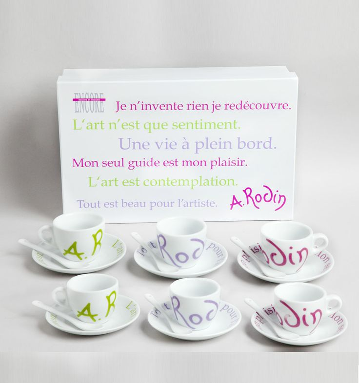 Six Coffee Cups with Rodin Quotes, 42 € / © Musée Rodin, photo: Jacques Gavard / http://boutique.musee-rodin.fr/en/home-accessories/234-six-coffee-cups-box-with-rodin-quotes.html