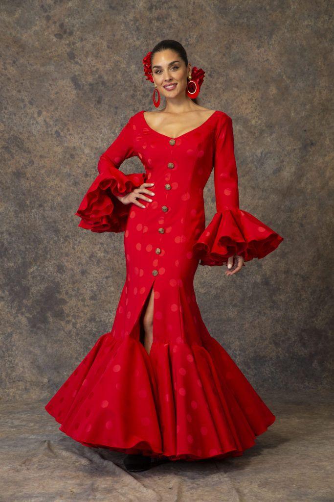 Traje de flamenca rojo de Aires de Feria 2019. Modelo Rocío