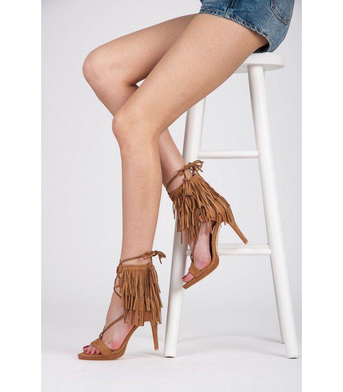 Viazané sandále so strapcami 8125-14BE