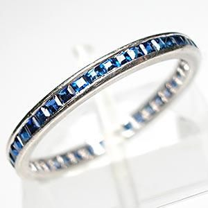 Antique Blue Sapphire Eternity Band Ring Solid Platinum