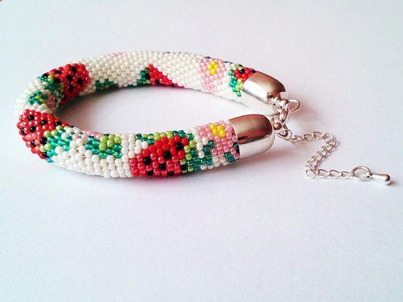 Beaded Strawberry Bracelet  Toho Crochet Beaded by DeerestJewelry