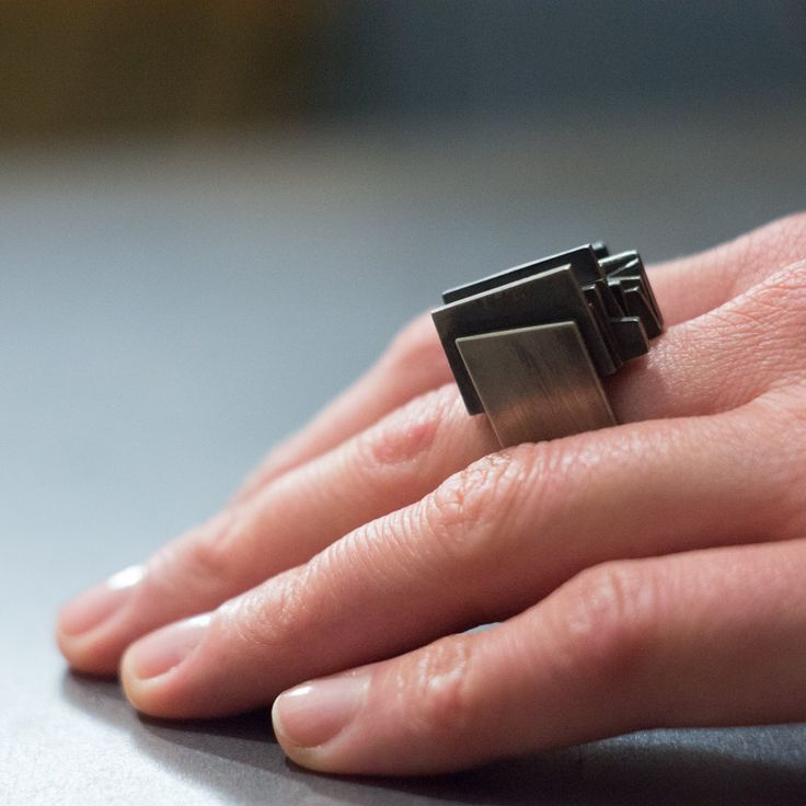 Contemporary Black Oxidized Silver and 14K Gold Square Ring by Alexey Cherkasov