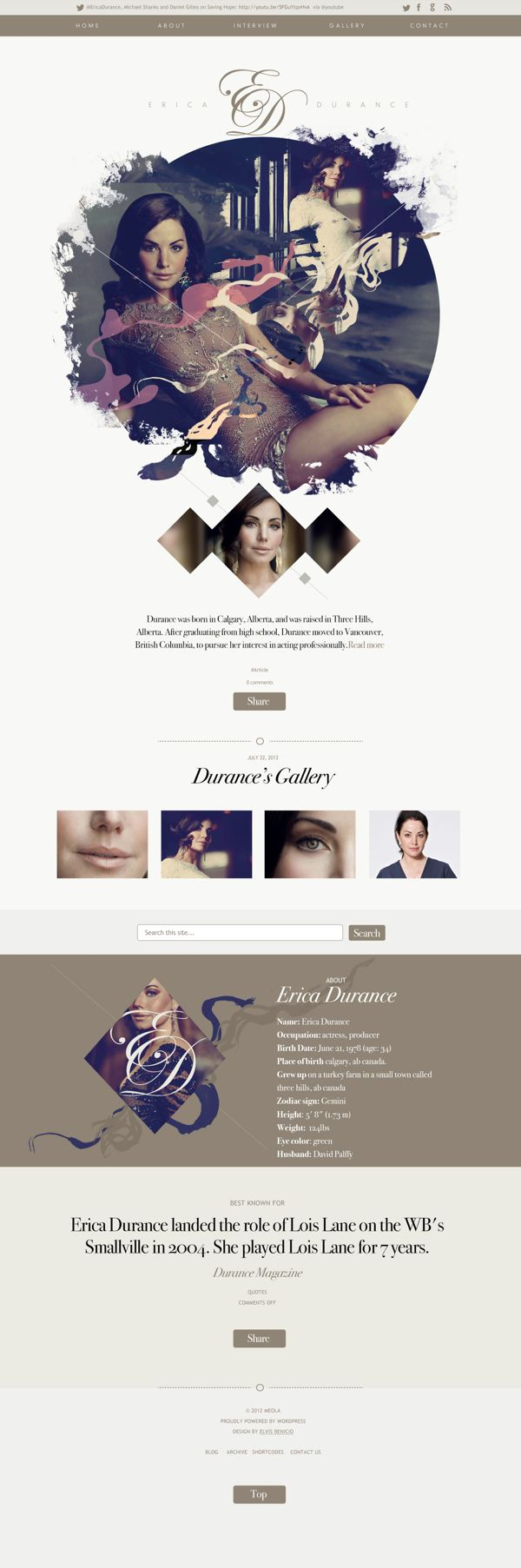 Erica Durance | Website by Elvis Benício, via Behance