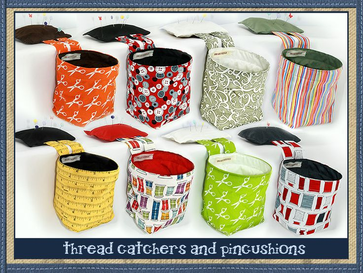 Functional thread catcher bag/pincushion that hangs off the edge of the desk next to your sewing machine.