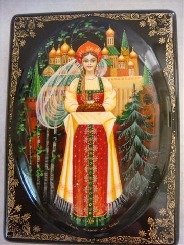 Russian Lacquer Boxes Snow Princess   Russian Santa Purveyors - finely painted Russian lacquered boxes
