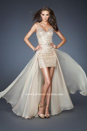 Prom Dresses 2014 - La Femme 18906 Removable Skirt gold sequins, Short mini dress with long chiffon overlay - 2-in-1 dress!