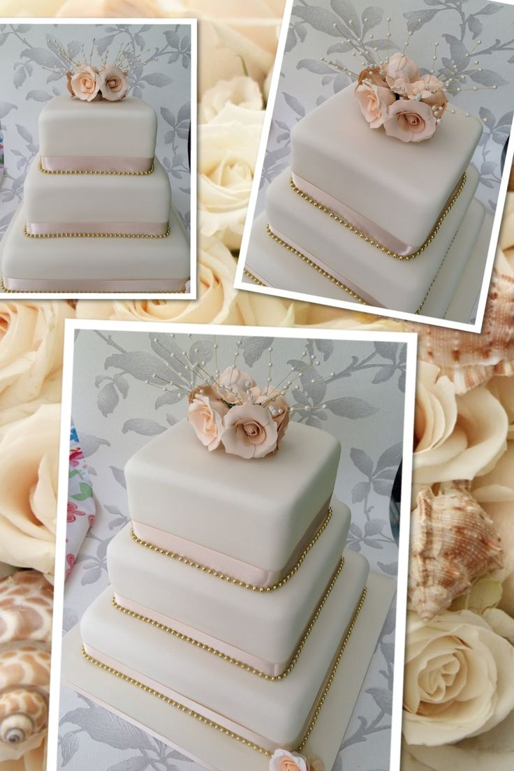 Rose gold wedding inspiration onewed rose gold ruffly wedding chair - Ivory Cream Beige Gold Handmade Sugar Rose Wedding Cake