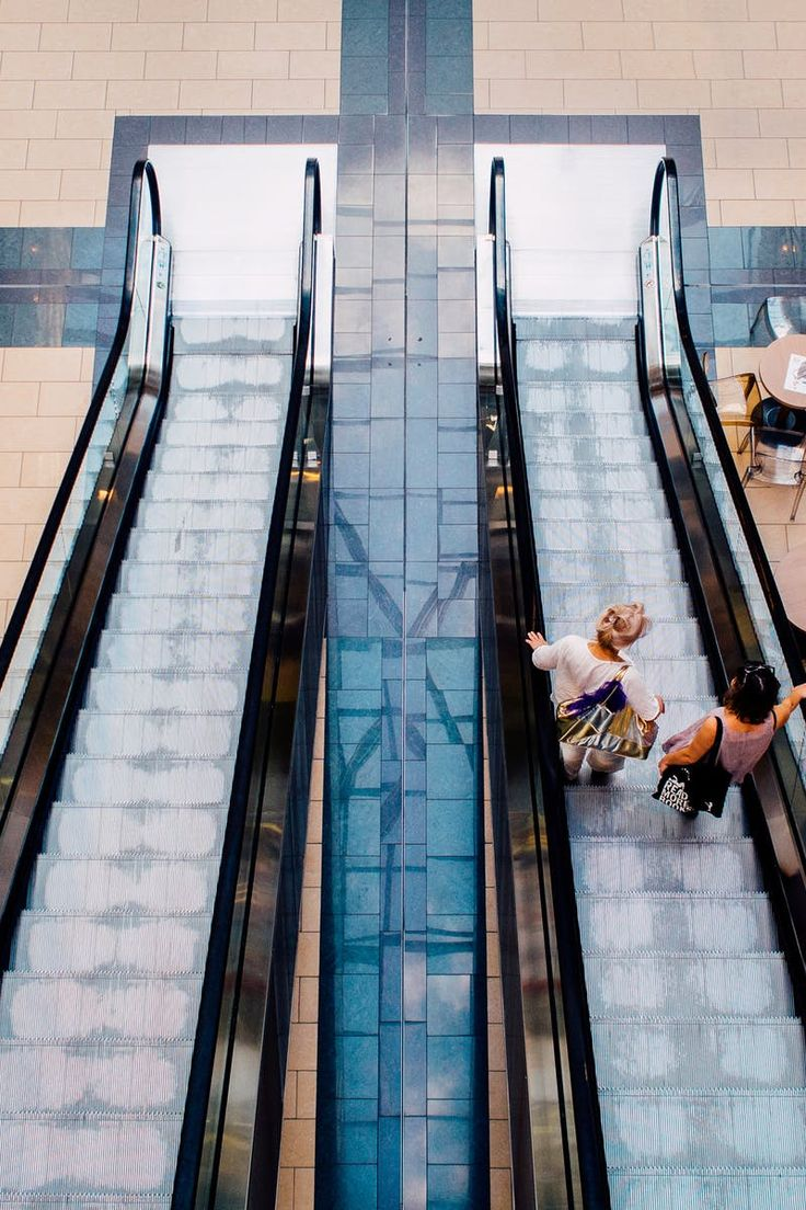 escalator, mall, people